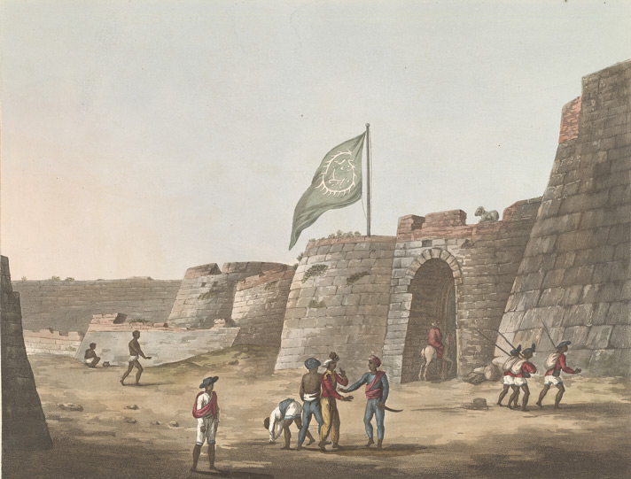 The North Entrance Into The Fort Of Bangalore [with Tipu's flag flying]